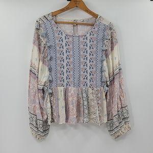 American eagle boho embroidered tassel blouse